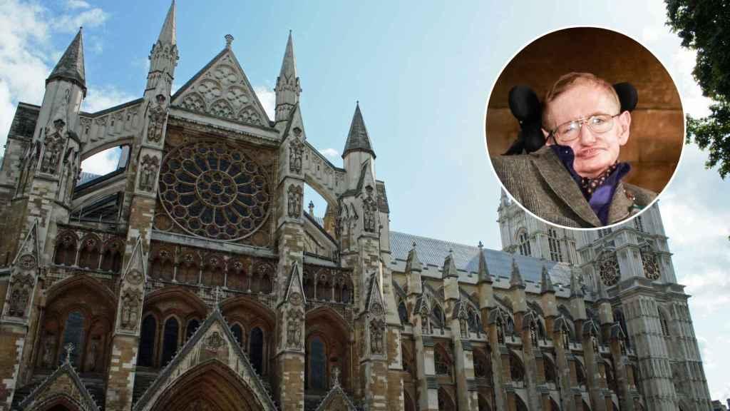 La Abadía de Westminster junto a Hawing en un montaje.