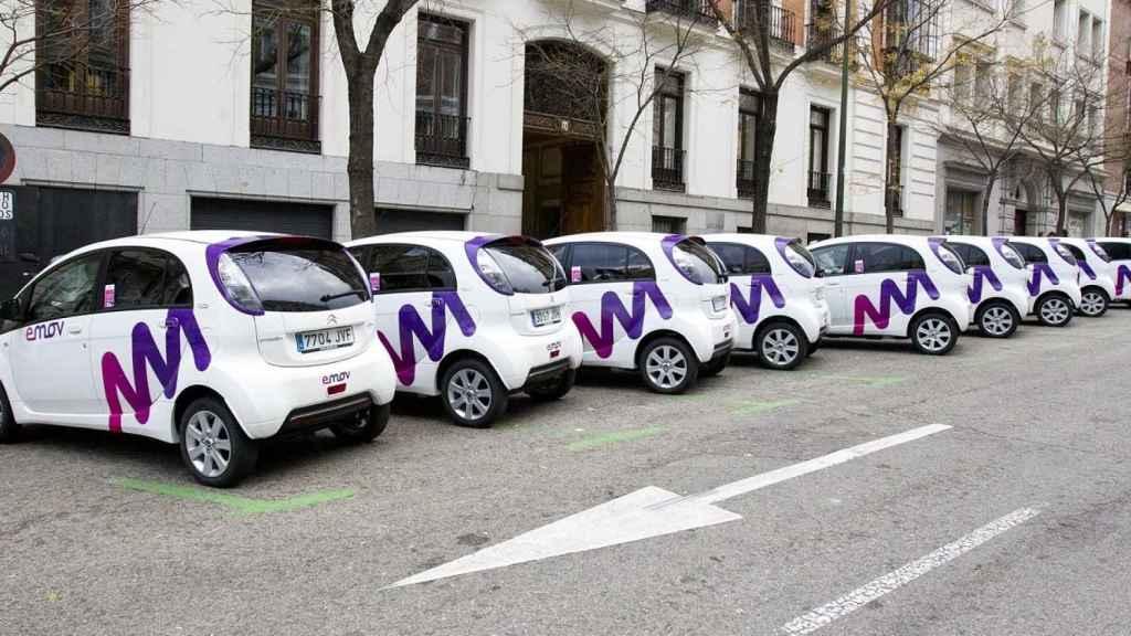 Vehículos de Emov en las calles de Madrid.
