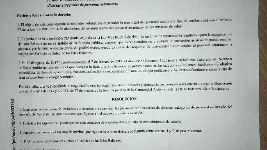Resolución publicada en el Boletín Oficial de las Islas Baleares.
