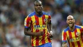 Kondogbia celebra su gol en el Bernabéu. Foto Twitter (@valenciacf)