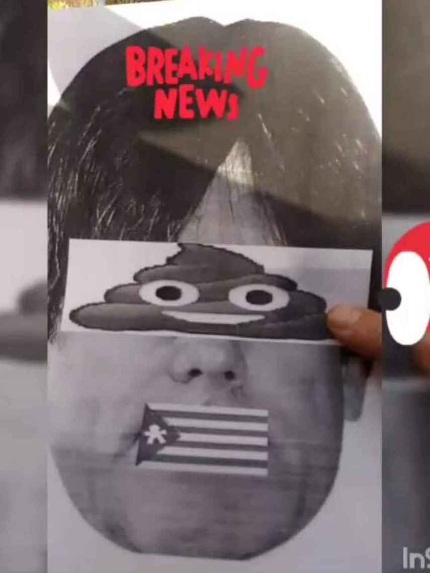 Montaje fotográfico de la D.U.E. con la cara de Puigdemont