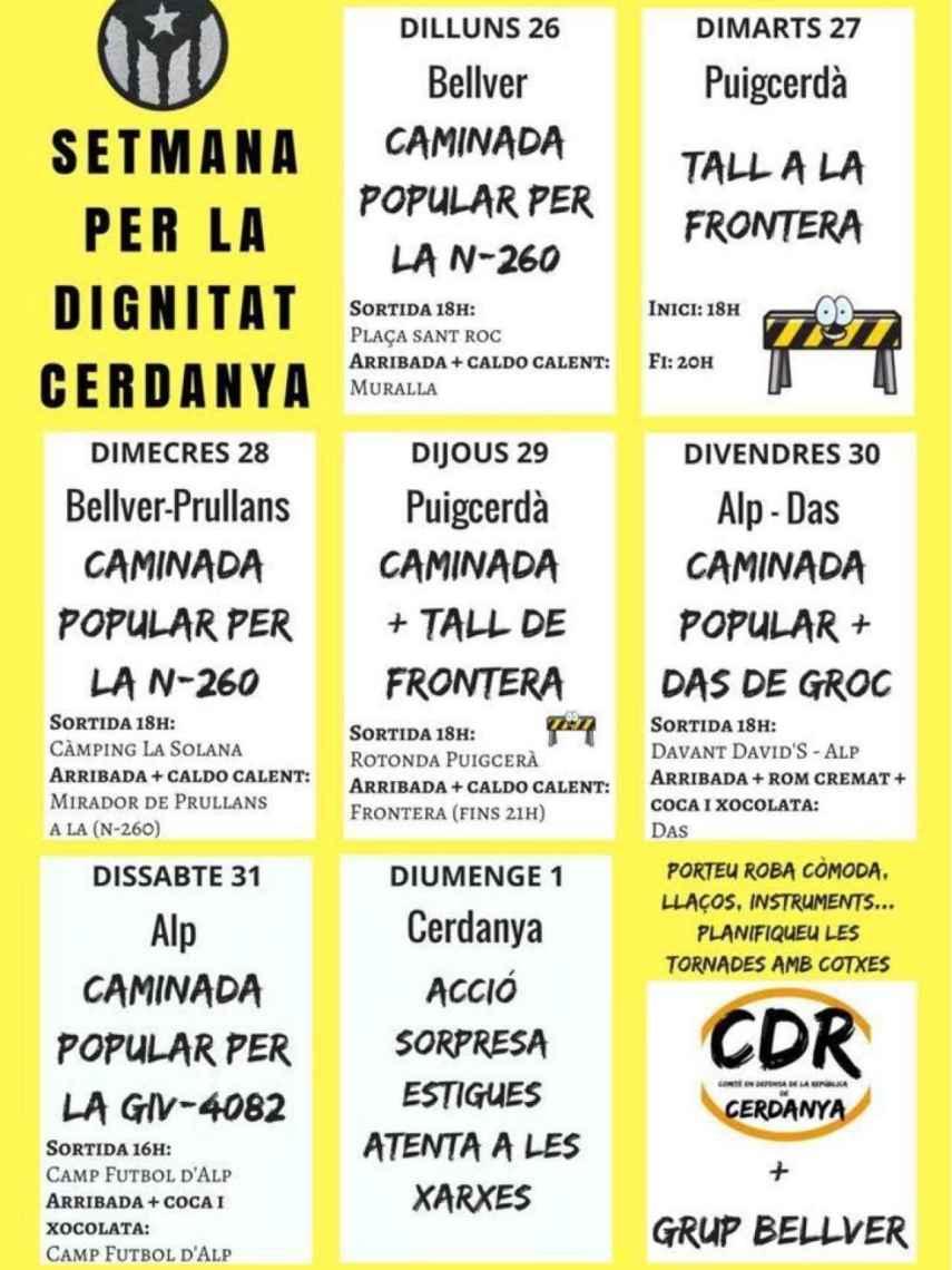 Calendario Semana Santa propuesto por el CDR Cerdanya. Lo llaman Setmana de Dignitat
