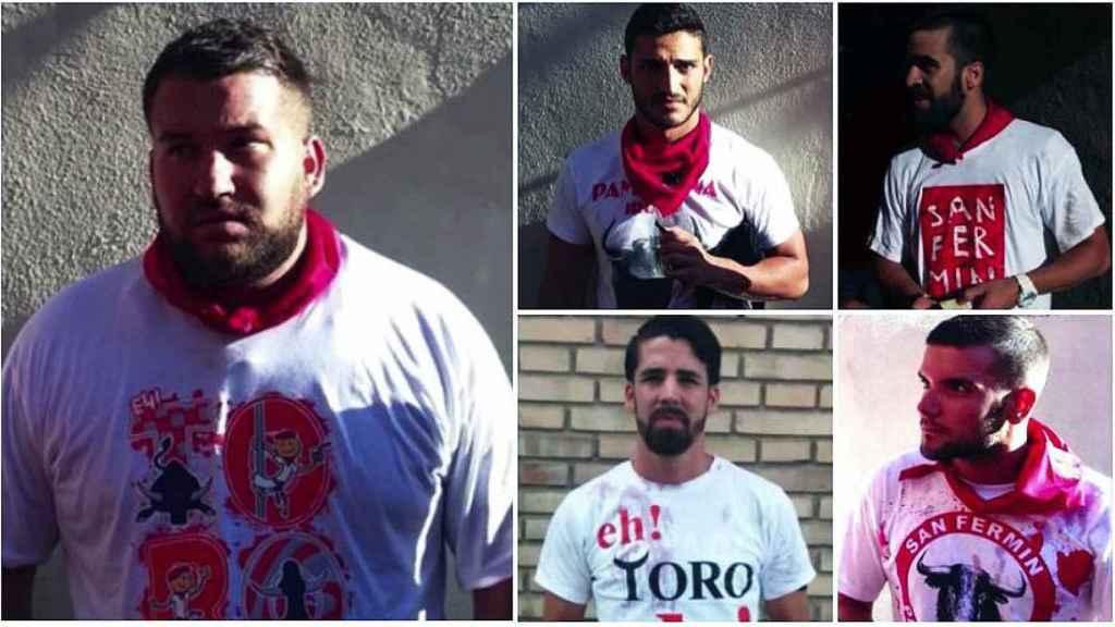 Los cinco acusado, de izquierda a derecha y de arriba hacia abajo: José Angel Prenda, Alfonso Jesús Cabezuelo, Jesús Escudero, Antonio Manuel Guerrero y Angel Boza.