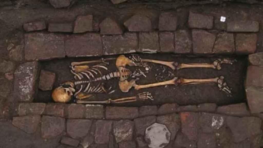 El esqueleto descubierto en Italia.