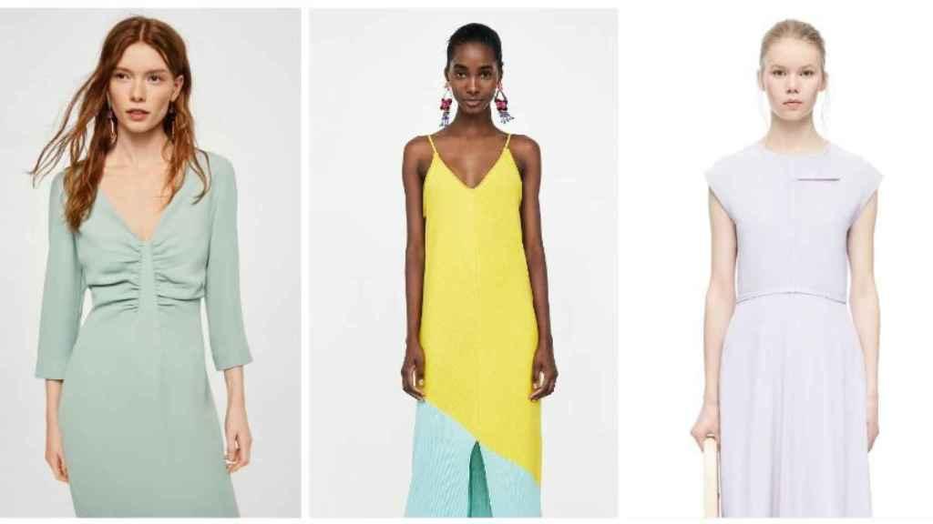 Distintas prendas pasteles de esta temporada en un montaje. De izquierda a derecha: Mango, Zara y Victoria Beckham.
