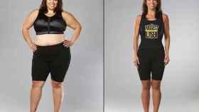 Una mujer después de perder mucho peso.