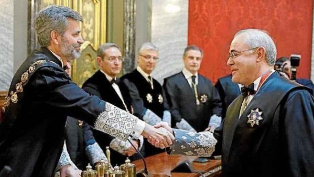 Toma de posesión del magistrado Llanera con Carlos Lesmes, actual presidente del Supremo