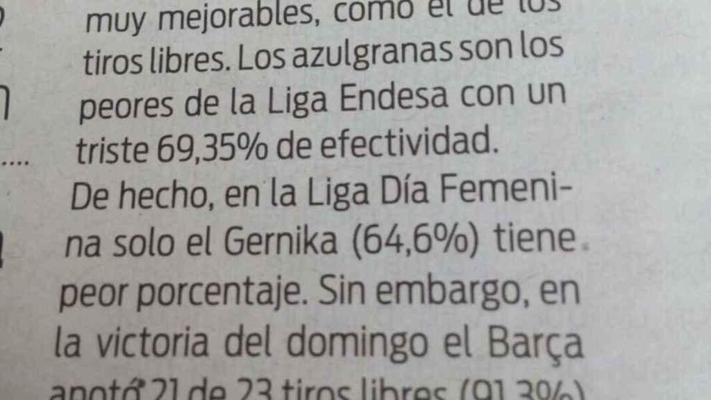 El fragmento de periódico que indignó a la exjugadora Marta Fernández.