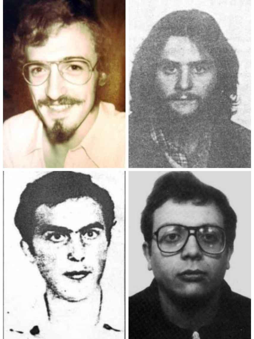 De izquierda a derecha y de arriba abajo: Martí Marcó, Félix Goñi, Toni Villaescusa y Quim Sánchez, los muertos de Terra Lliure