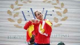 Lydia Valentín, tras ganar su cuarto campeonato de Europa de halterofilia.