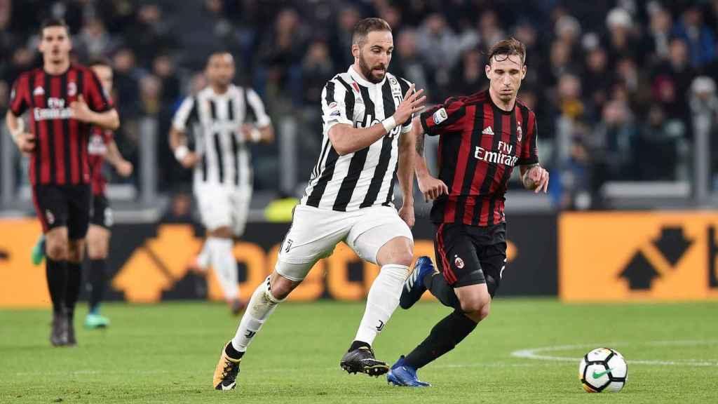 Higuaín, en el último partido de la Juventus ante el Milan.