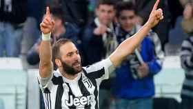 Gonzalo Higuaín celebra un gol con la Juventus.
