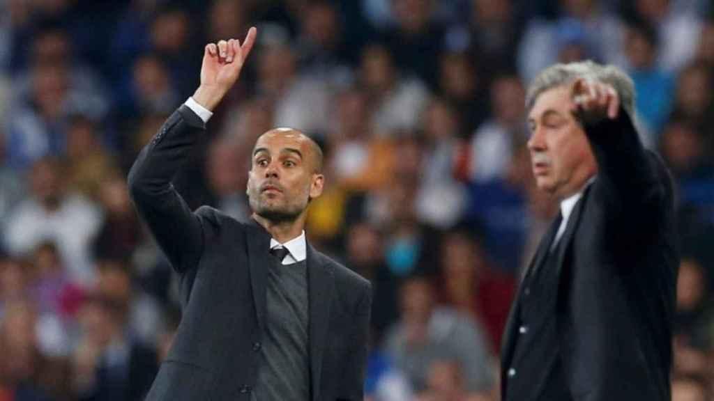 Guardiola y Ancelotti durante un choque entre Bayern y Real Madrid.