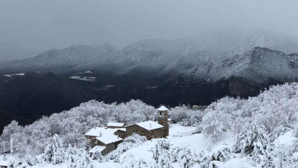 Un pueblo nevado.