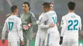 El Real Madrid celebra el pase a cuartos de la Champions League