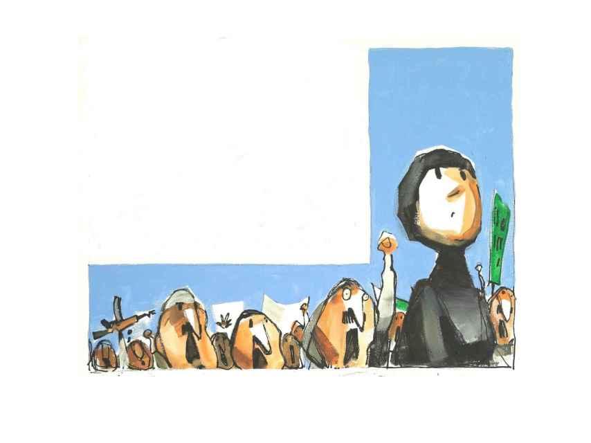 La mujer del Mustafá Al-Yaqubi encabezó las protestas frente a la base Al Ándalus.