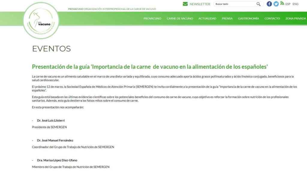 Anuncio de la presentación en la web de Provacuno.