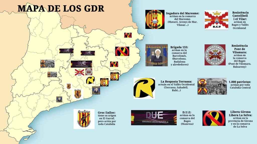Mapa de los GDR y su radio de actuación en Cataluña