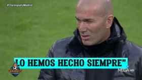 La charla de Zidane. Foto: Twitter (@elchiringuitotv)