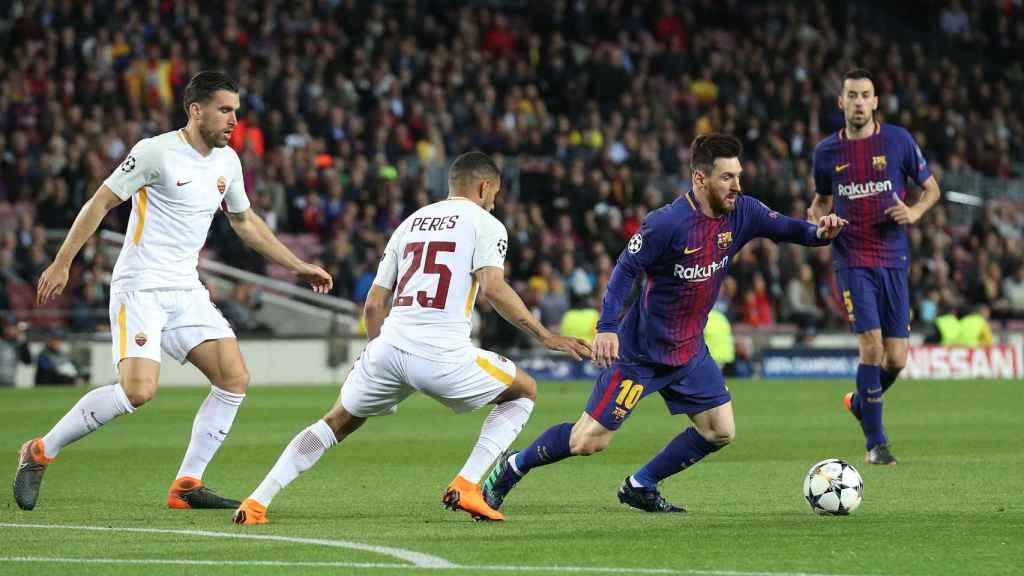 Messi durante el último Barcelona -Roma de Champions League.