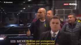 Guardiola a su llegada a Anfield.