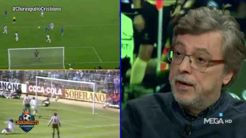 José Damián González compara la chilena de Cristiano Ronaldo con la de Hugo Sánchez. Foto: Twitter (@elchiringuitotv)