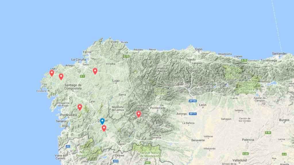 Los ataques de lobos recopilados en 'Cuadernos de Estudios Gallegos'; en azul, el suceso de San Cibriao.