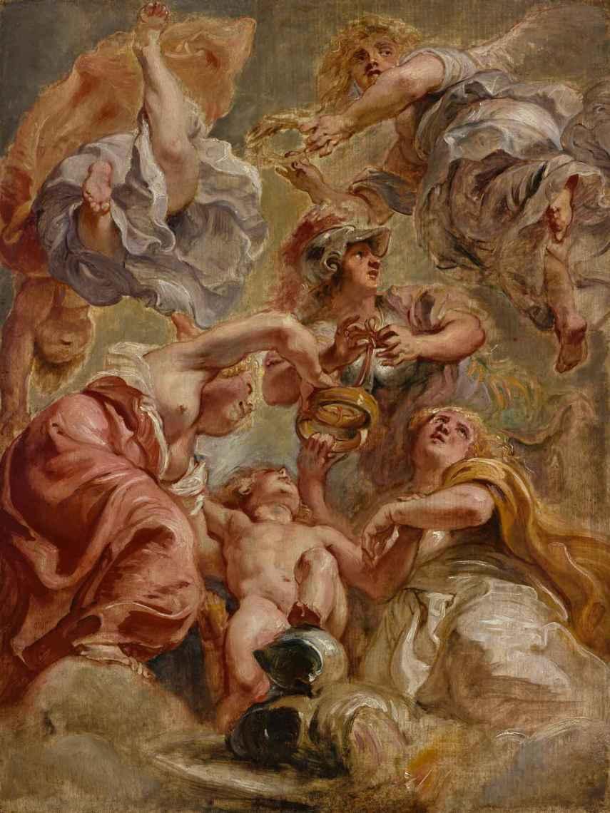 Inglaterra, Escocia, Minerva, Cupido y dos Victorias, de Rubens, en 1632.
