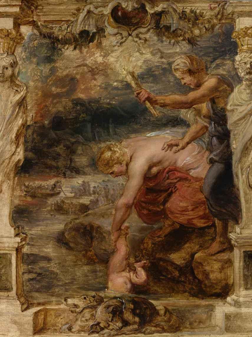 Tetis introduciendo al pequeño Aquiles en el río Estigia, boceto de Rubens, 1635.