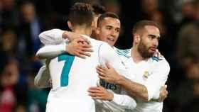 Los jugadores del Madrid celebran un gol en el Santiago Bernabéu