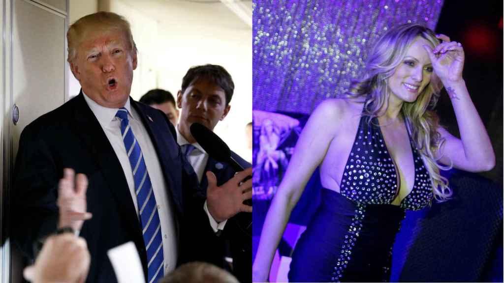 El presidente de EEUU, Donald Trump; y la actriz de cine para adultos Stormy Daniels.