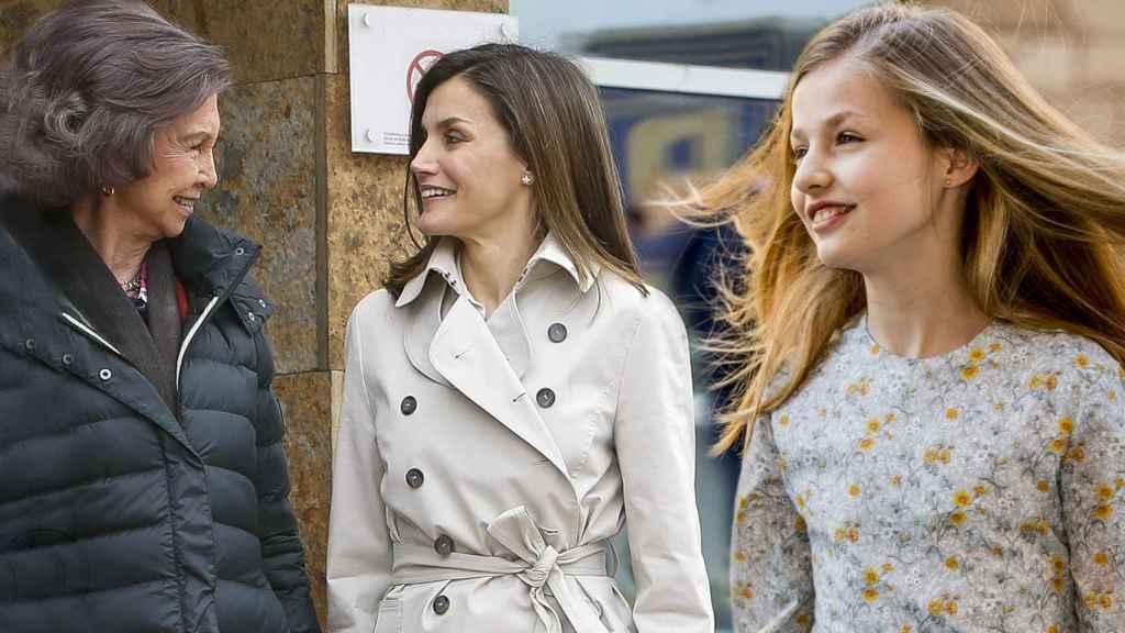La reina Sofía, Letizia y Leonor, en un montaje de JALEOS.