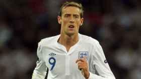 Peter Crouch con la selección inglesa. Foto stokecityfc.com
