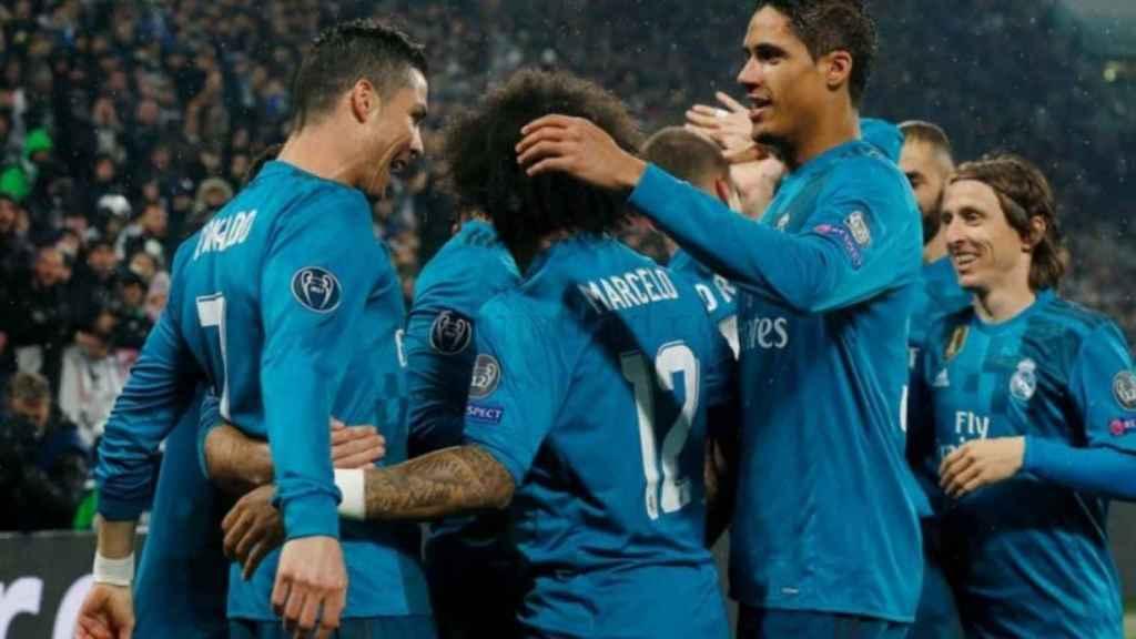 Celebración del gol de Cristiano