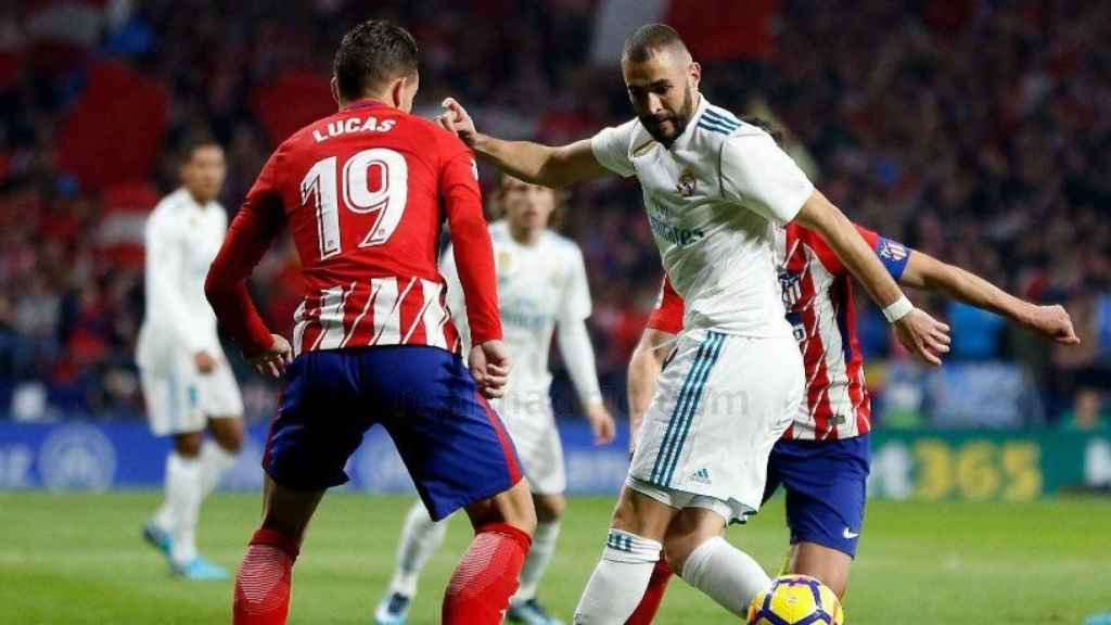 Benzema y Lucas en el derbi