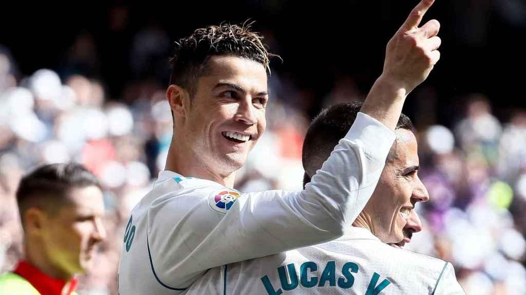 Cristiano Ronaldo celebra su gol al Atlético de Madrid en el último partido de liga del Real Madrid.
