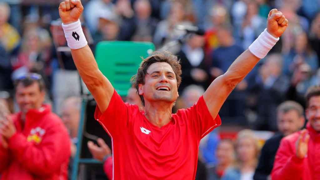 David Ferrer, eufórico tras dar el pase a España a semifinales de la Davis.
