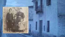 María Francisca, la adolescente asesinada en 1904 (arriba a la derecha) junto a tres hermanos. En la misma imagen, la casa en la que residieron Los Rufino.