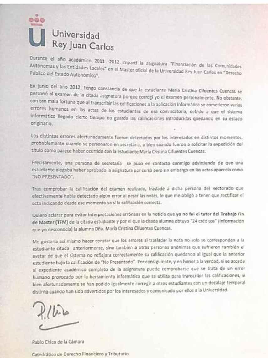 Esta es la carta que firmó el profesor Chico.