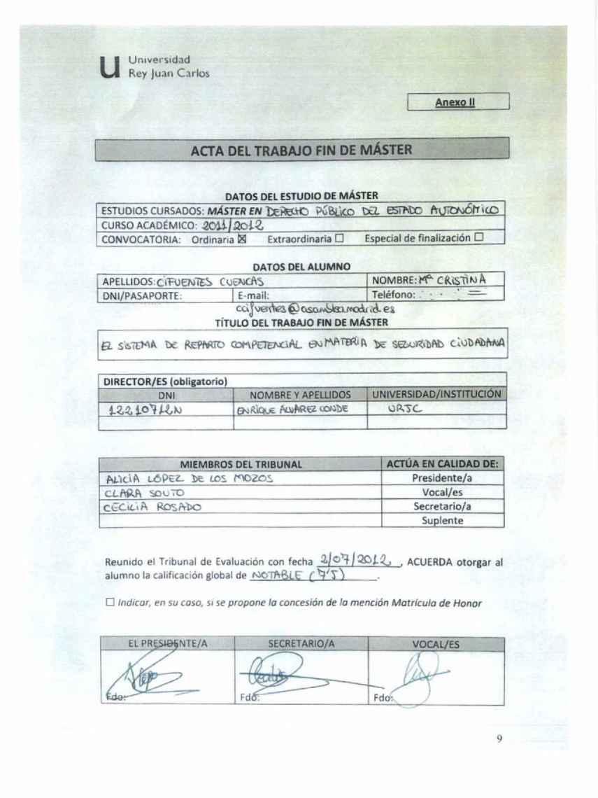 El acta del TFM con dos de las tres firmas falsificadas.