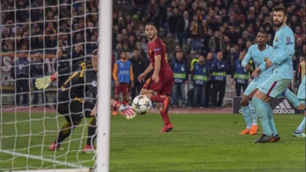 La Roma frente al Barcelona. Foto Twitter (@officialasroma)