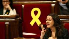 Inés Arrimadas (Cs) y Marta Rovira (ERC), en el Parlamento catalán
