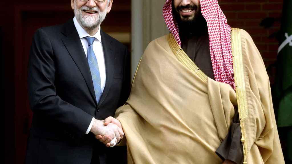 Rajoy con el príncipe heredero de Arabia Saudí en La Moncloa