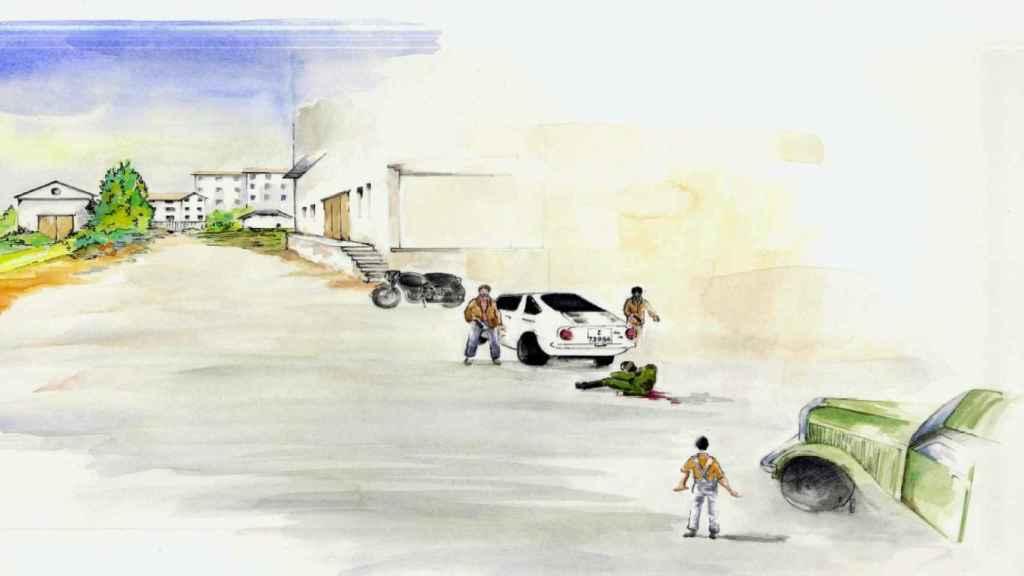 Ilustración de Juan luis Folgado publicado en el libro `Historia de un desafío´ (Editorial Península) del encuentro entre los etarras y Pardines en Villabona.