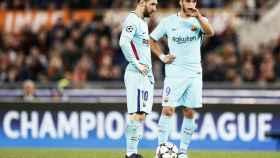 Luis Suárez y Messi, en el Olímpico de Roma.