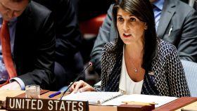 Nikki Haley, embajadora estadounidense ante la ONU durante una reunión del Consejo de Seguridad.