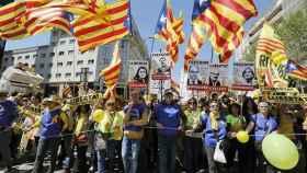 La ausencia de banderas de UGT y CC. OO. en la manifestación separatista fue muy llamativa.
