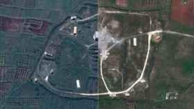 Una de las zonas afectadas antes y después del ataque.