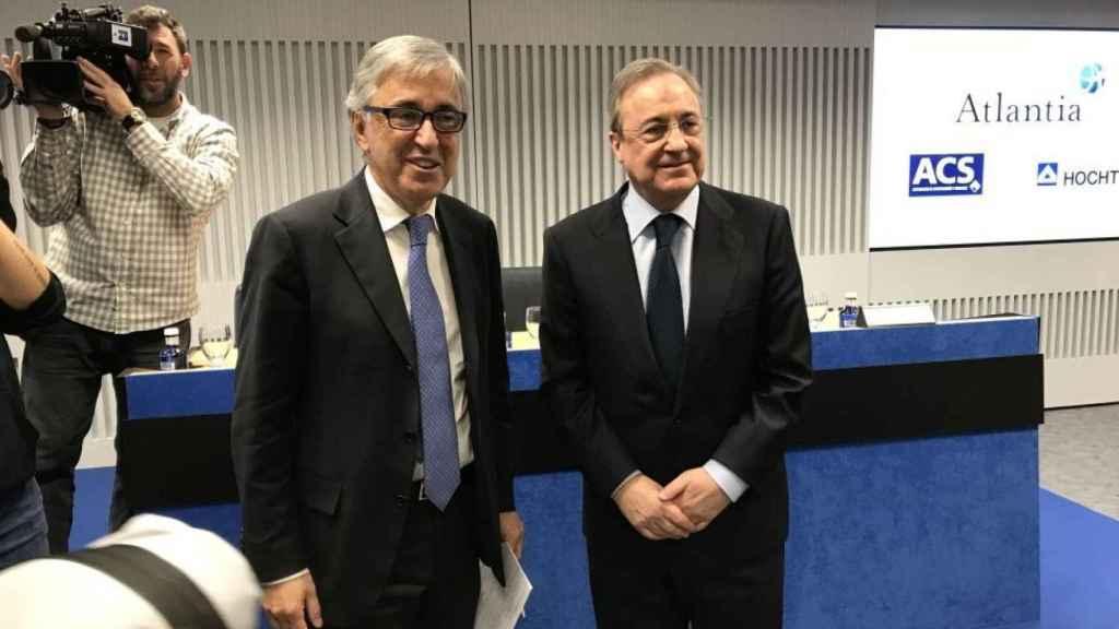 Florentino Pérez, presidente de ACS y Giovanni Castelluci, CEO de Atlantia.