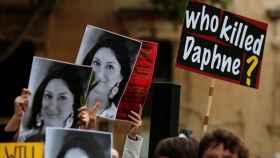 Manifestación en Valetta por el asesinato de la periodista maltesa